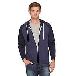 Red Herring - Navy contrast sleeve zip through hoodie