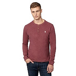 St George by Duffer - Dark red plain button neck top