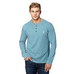 St George by Duffer - Big and tall dark turquoise waffle textured top