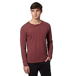 Red Herring - Dark red grandad button fastening top
