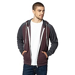 Red Herring - Dark red contrast sleeve hoodie