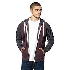 Red Herring - Dark red contrast sleeve hoodie