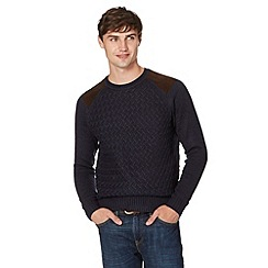 Red Herring - Navy twisted knit shoulder patch jumper