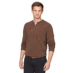 Red Herring - Brown open button neck jumper