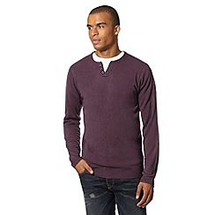 Red Herring - Purple notch neck knitted jumper