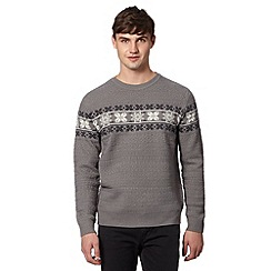 Red Herring - Grey Fair Isle snowflake jumper