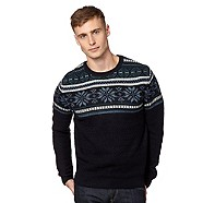 redherring Navy Fair Isle Christmas jumper
