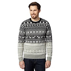 Red Herring - Black Fair Isle reindeer Christmas jumper