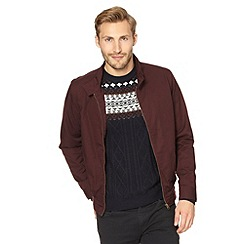 Red Herring - Dark red ribbed trim harrington jacket