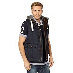 St George by Duffer - Navy jersey hood padded gilet