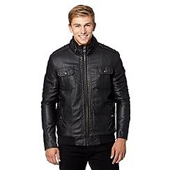 Red Herring - Black borg fleece lined funnel neck jacket