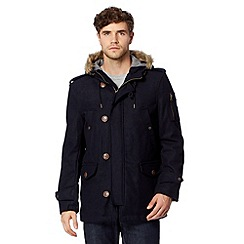 Red Herring - Navy wool blend hooded parka coat