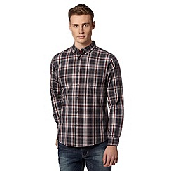 Red Herring - Dark red checked button down collar shirt
