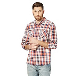 St George by Duffer - Big and tall orange and blue checked long sleeve shirt