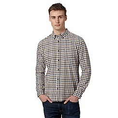 St George by Duffer - Big and tall brown two colour gingham shirt