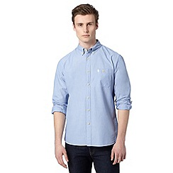 St George by Duffer - Big and tall blue long sleeved pocket shirt