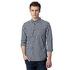 St George by Duffer - Big and tall blue gingham checked button down collar shirt