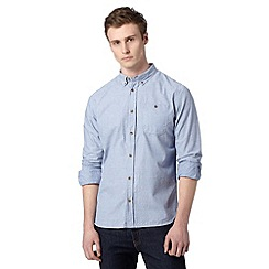 St George by Duffer - Big and tall blue textured long sleeved shirt