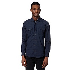 Red Herring - Navy mini geometric print utility shirt