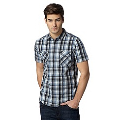 FFP - Big and tall blue grid checked two button shirt