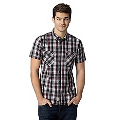 FFP - Big and tall wine grid checked two pocket shirt