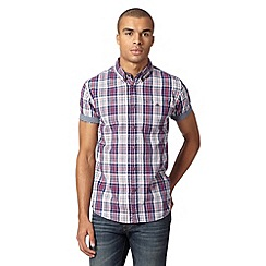 Red Herring - Navy checked short sleeve shirt