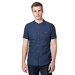 Red Herring - Navy grandad collar oxford shirt