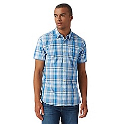 St George by Duffer - Blue with yellow highlight check short sleeve shirt