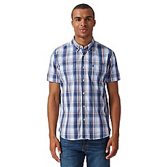 St George by Duffer - Big and tall off white short sleeved checked shirt
