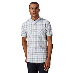 St George by Duffer - Big and tall blue grid checked short sleeved shirt