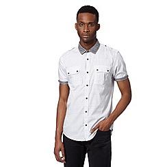 Red Herring - White mini geometric chambray trim utility shirt