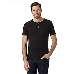 Red Herring - Black ribbed button neck t-shirt