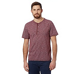St George by Duffer - Big and tall maroon slub striped grandad shirt