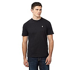 St George by Duffer - Big and tall black embroidered logo t-shirt