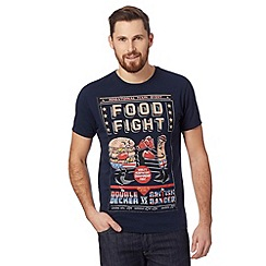 Red Herring - Navy 'Food Fight' print t-shirt