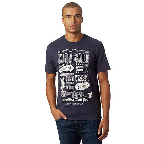 St george by duffer big and tall navy 39 yard sale 39 print t for Big and tall printed t shirts