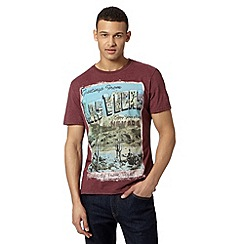 St George by Duffer - Dark red 'Las Vegas' print t-shirt