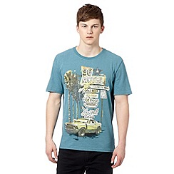 St George by Duffer - Big and tall dark turquoise '96 Motel' print t-shirt