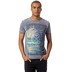 Red Herring - Mid blue 'Santa Monica' burnout t-shirt