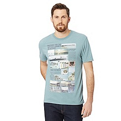 St George by Duffer - Big and tall pale green beach huts newspaper print t-shirt