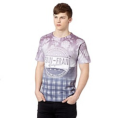 Red Herring - White 'San-Fran' floral and checked t-shirt