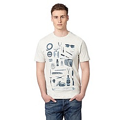St George by Duffer - Big and tall dark cream barber shop print t-shirt