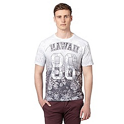 Red Herring - Big and tall grey hawaii floral t-shirt