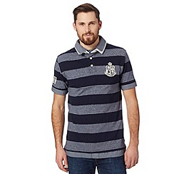 St George by Duffer - Navy grindle striped mock collar rugby shirt
