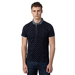 Red Herring - Navy jersey patterned polo shirt