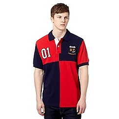 St George by Duffer - Red cut and sew block pique polo shirt