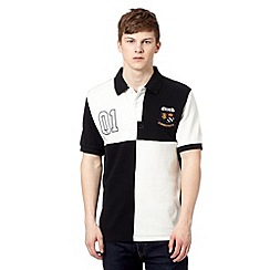 St George by Duffer - Black cut and sew block pique polo shirt