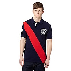 St George by Duffer - Navy cut and sew sash pique polo shirt