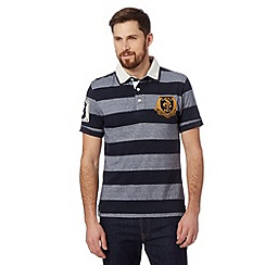 St George by Duffer - Big and tall navy striped mock layer rugby shirt