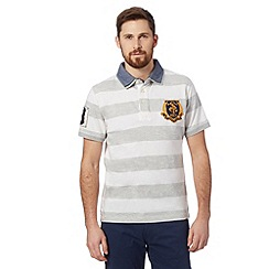 St George by Duffer - Big and tall grey striped mock layer rugby shirt